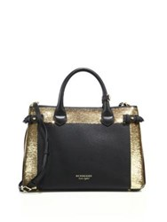 Burberry Banner Medium Leather Sequin And House Check Satchel Black Gold