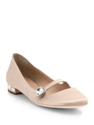 Giamba Crystal Satin Mary Jane Flats Beige