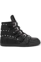Giuseppe Zanotti Studded Fringed Leather Sneakers Black