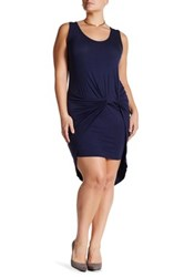 Vanity Room Knotted Knit Tank Dress Plus Size Blue