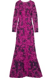 Oscar De La Renta Embroidered Cotton Blend Guipiure Lace Gown Magenta