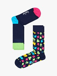 Happy Socks Heart One Size Pack Of 2 Navy Multi