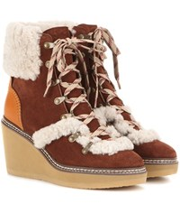 See By Chloe Lace Up Suede Platform Ankle Boots Brown