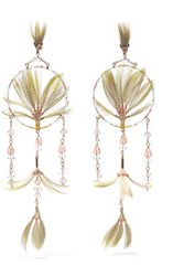 Valentino Gold Tone Crystal Bead And Feather Earrings One Size