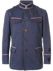 Ermanno Scervino Pipe Trim Military Jacket Blue