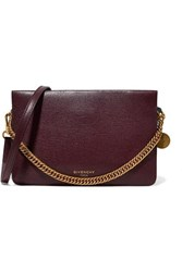 Givenchy Cross3 Textured Leather And Suede Shoulder Bag Burgundy
