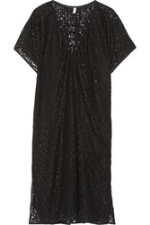 Fleur Du Mal Lace Up Corded Lace Kaftan Black
