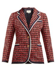 Gucci Single Breasted Geometric Tweed Jacket Red Multi