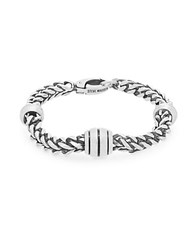 Steve Madden Stainless Steel Wheat Chain Bracelet Burnished Silver