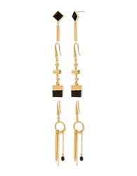 Steve Madden 3 Piece Multi Shape Earrings Set Gold
