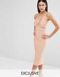 Missguided Exclusive Mesh Insert Bodycon Dress Nude