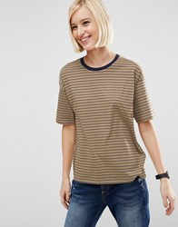 Asos T Shirt In Stripe With Contrast Trim Mustard Navy