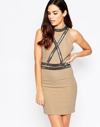 Liquorish Mini Dress With Cross Front Embellishment Nude