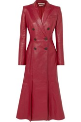 Alexander Mcqueen Double Breasted Pleated Leather Coat Red