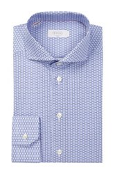 Eton Long Sleeve Slim Fit Owl Print Dress Shirt Blue