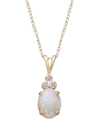 Macy's 10K Gold Necklace Opal 9 10 Ct. T.W. And Diamond Accent Tri Top Pendant