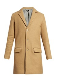 A.P.C. Lewis Notch Lapel Single Breasted Wool Blend Coat Camel