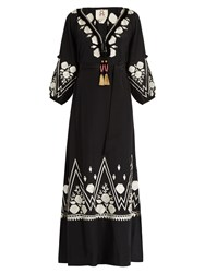 Figue Lola Floral Embroidered Silk Maxi Dress Black