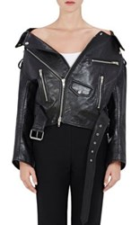 Balenciaga Women's Off The Shoulder Leather Biker Jacket Black
