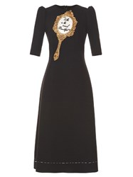 Dolce And Gabbana Mirror Embellished Wool Blend Cady Midi Dress Black