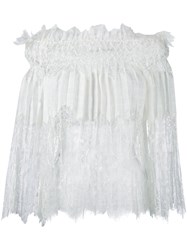 Ermanno Scervino Off Shoulders Lace Blouse Women Ramie Polyamide 44 White