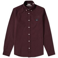 Kenzo Button Down Tiger Twill Shirt Burgundy