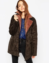Asos Faux Shearling With Panel Detail Charcoal