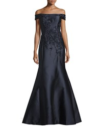 Teri Jon Off The Shoulder Embellished Gown Navy