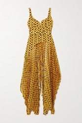 Solace London Junee Printed Crepe And Pleated Hammered Satin Gown Mustard