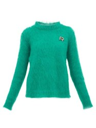 Rochas Crystal Logo Embellished Mohair Blend Sweater Green