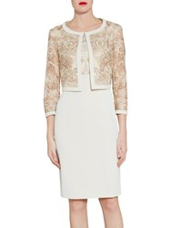 Gina Bacconi Crepe And Floral Embroidered Mesh Jacket Butter Cream
