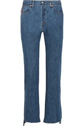 Vetements Levi's Distressed High Rise Straight Leg Jeans Blue