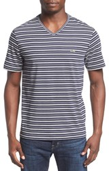 Lacoste Men's Stripe V Neck T Shirt Navy Blue Cake Flour White