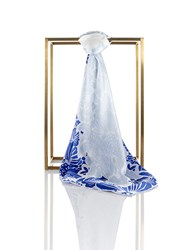 Shanghai Tang Prisma Silk Satin Chiffon Square Scarf Light Blue