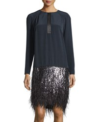 Monique Lhuillier Long Sleeve High Low Feather Trim Dress Midnight
