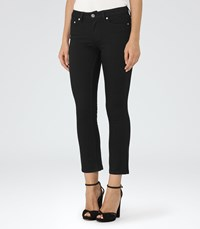 Reiss Faye Black Cropped Kick Flare Jeans In Black Womens