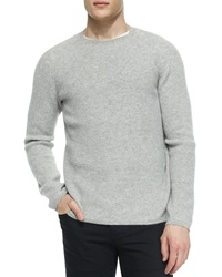 Vince Thermal Cashmere Crewneck Sweater Gray