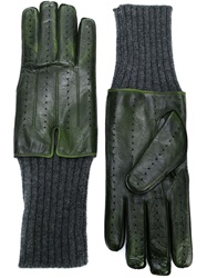 Haider Ackermann Wool And Leather Gloves Green