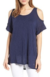Bobeau Women's Cold Shoulder Slub Knit Tee Navy Peacoat