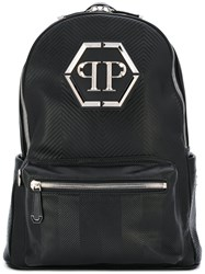 Philipp Plein Chevron Quilted Backpack Men Calf Leather One Size Black