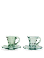 Luisa Beccaria Set Of Two Glass Espresso Cups And Saucers Green