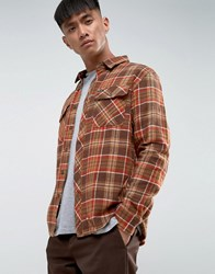 Brixton Bowery Flannel Check Shirt In Standard Fit Brown