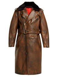 Calvin Klein 205W39nyc Shearling Collar Leather Coat Brown