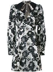 Marc Jacobs Floral Print Dress Women Silk Polyester Rayon 4 Black