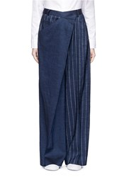 Adeam Deconstructed Stripe Wide Leg Linen Blend Pants Blue
