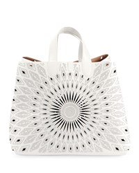 Alaia Frida Large Ray Studded Leather Tote Bag White