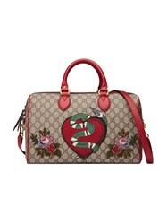 Gucci Limited Edition Gg Supreme Top Handle Bag With Embroideries Women Canvas Metal Microfibre One Size Brown