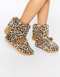 New Look Leopard Slipper Boot With Tail Stone