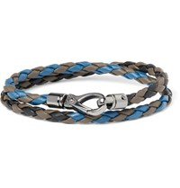 Tod's Scooby Braided Leather Wrap Bracelet Blue