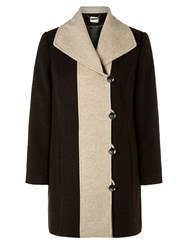 Eastex Chocolate Contrast Tipped Coat Multi Coloured